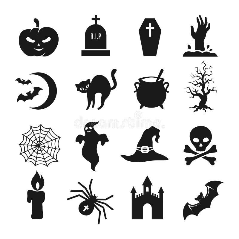 Icone di vettore della siluetta del nero di Halloween illustrazione vettoriale
