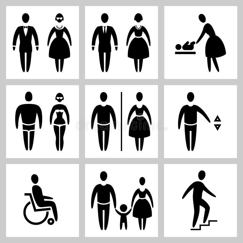 Icone di vettore della siluetta di accesso pubblico stilizzato dell'uomo e della donna messe illustrazione di stock