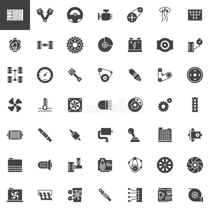 Icone di vettore delle parti dell'automobile messe royalty illustrazione gratis