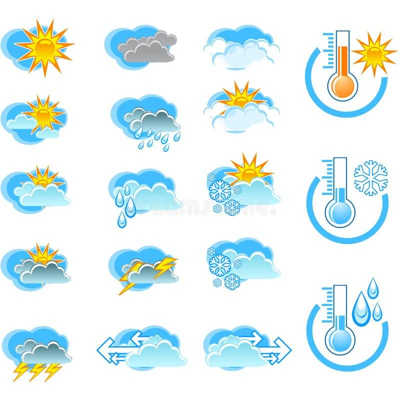 Icone di vettore di bollettino meteorologico illustrazione di stock