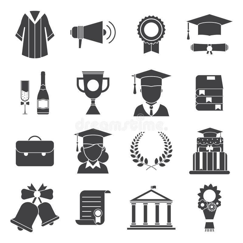 Icone di vettore di cerimonia di certificazione di giorno di laurea illustrazione di stock