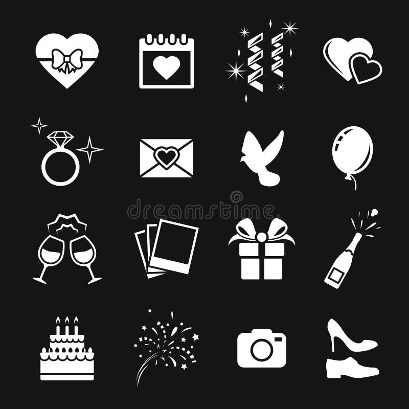 Icone di vettore di cerimonia nuziale impostate illustrazione di stock