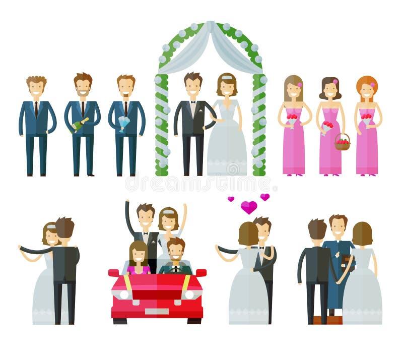 Icone di vettore di cerimonia nuziale impostate il matrimonio, nuziale, wed o royalty illustrazione gratis