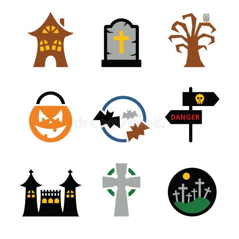 Icone di vettore di Halloween impostate royalty illustrazione gratis