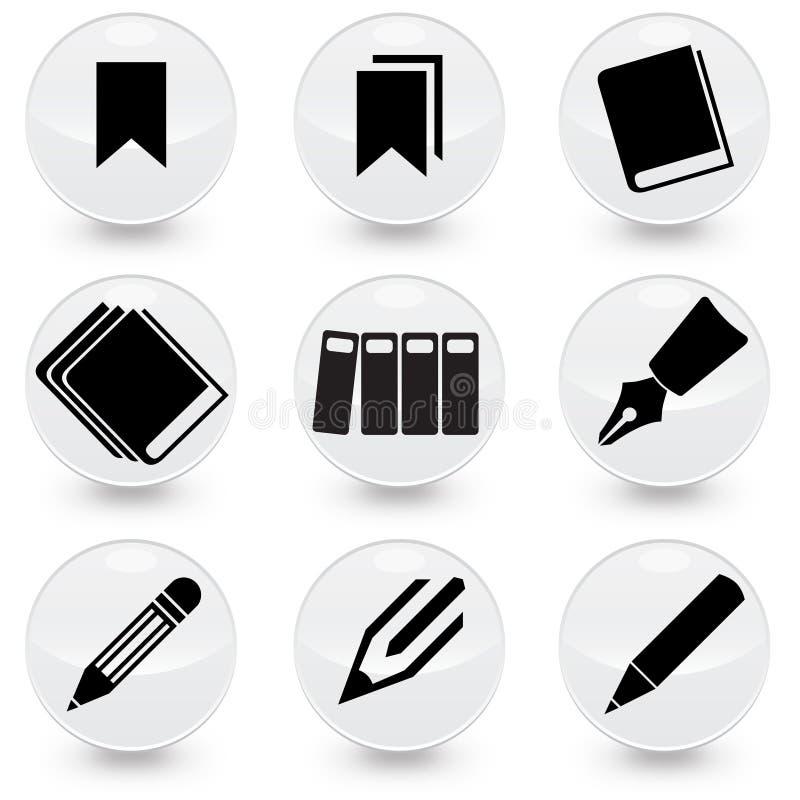 Icone di vettore di Pen Books Bookmarks royalty illustrazione gratis