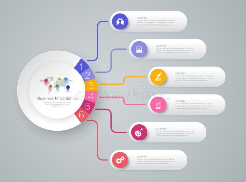 Icone di vettore e di affari di progettazione di infographics di cronologia con 6 opzioni illustrazione vettoriale