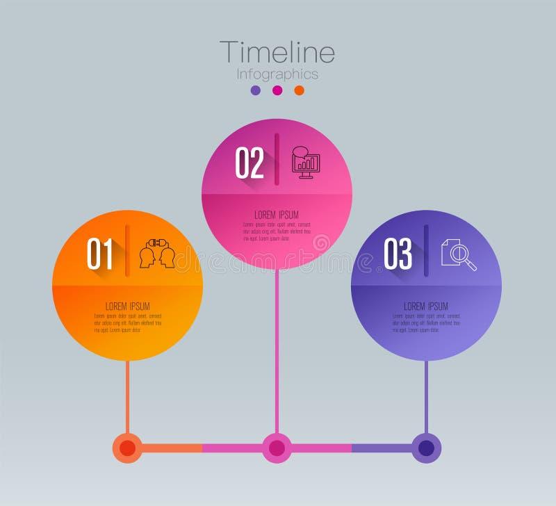 Icone di vettore e di vendita di progettazione di infographics di cronologia, concetto di affari con 3 opzioni, punti o processi royalty illustrazione gratis