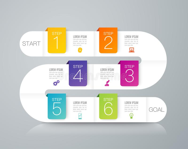 Icone di vettore e di vendita di progettazione di infographics di cronologia, concetto di affari con 6 opzioni, punti o processi illustrazione di stock