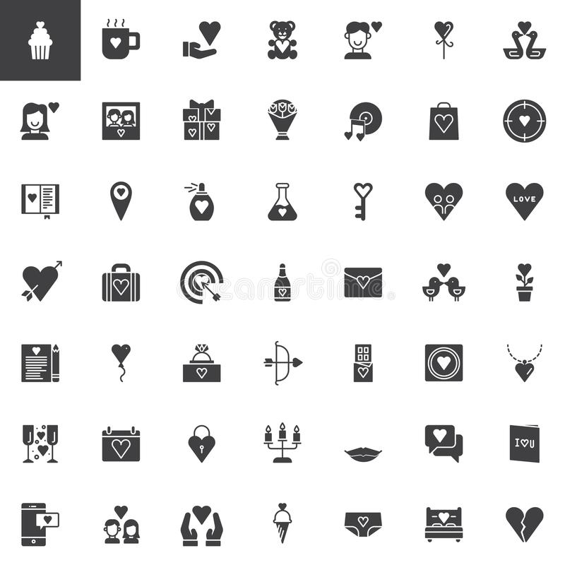 Icone di vettore di giorno del ` s del biglietto di S. Valentino messe illustrazione di stock