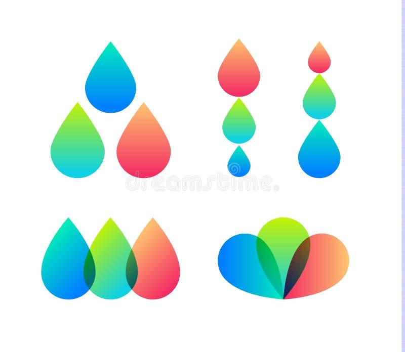 Icone di vettore di gocce messe Modello di logo della stampante a getto di inchiostro Casa di progettazione, logotype della socie royalty illustrazione gratis