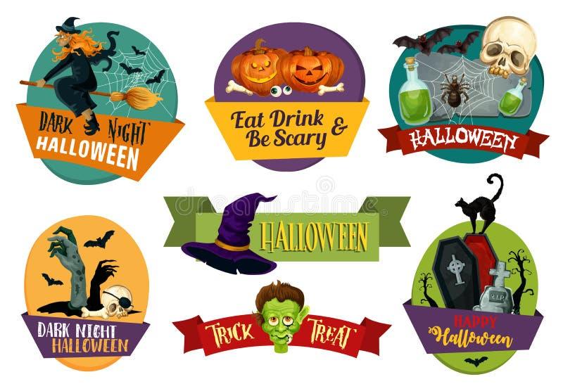 Icone di vettore di Halloween per il saluto del partito illustrazione di stock