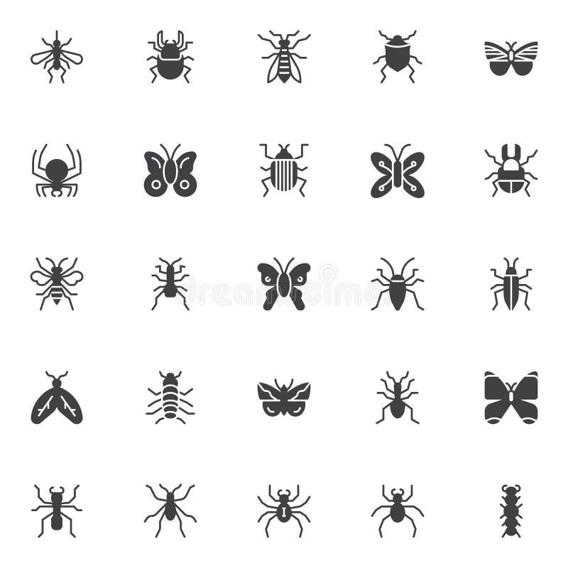Icone di vettore di insetti e degli insetti messe illustrazione vettoriale