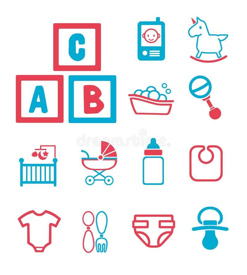 Icone di vettore messe per creare infographics relativo ai bambini, bambini e parto, compreso il cavallo a dondolo sveglio, panno illustrazione vettoriale
