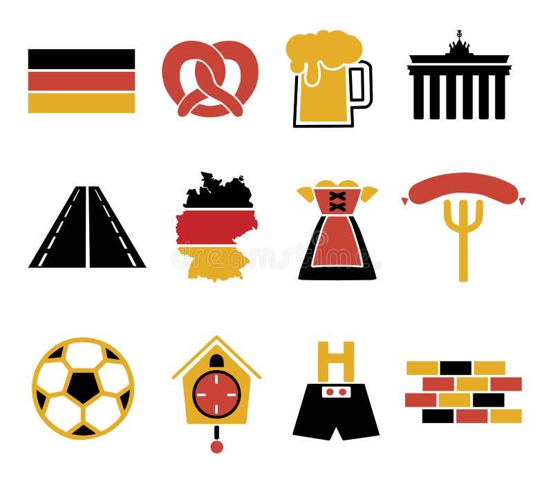 Icone di vettore messe per creare infographics relativo in Germania, come i pantaloni di cuoio, tazza di birra, ciambellina salat royalty illustrazione gratis
