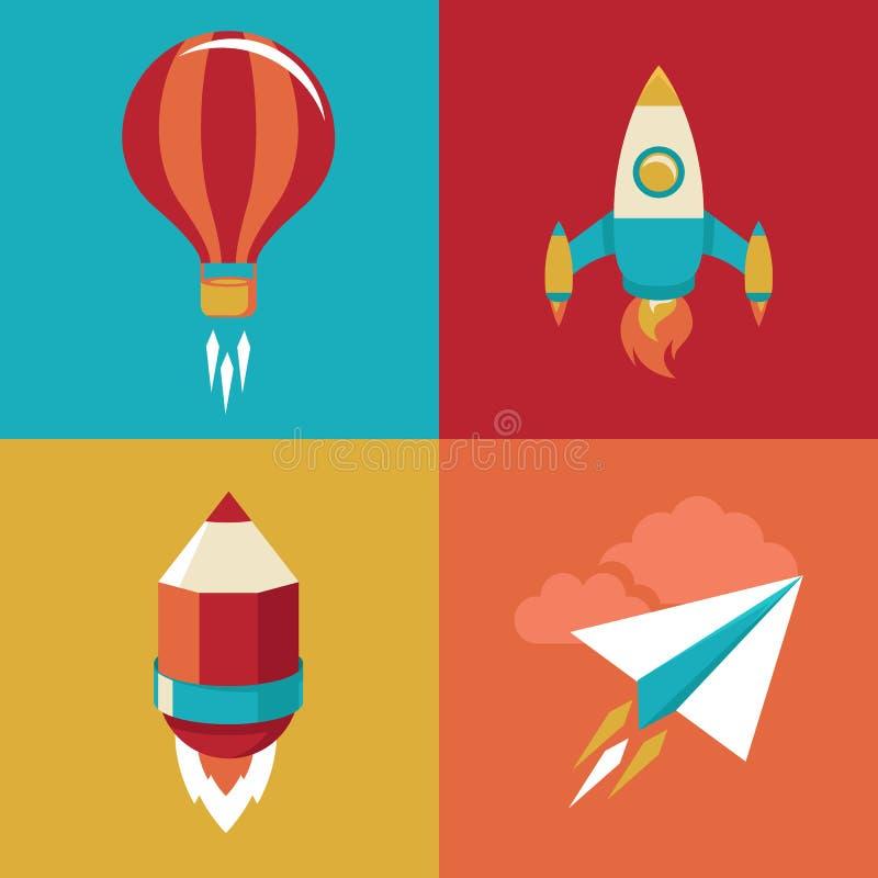 Icone di vettore nello stile piano - avvii su e lanci illustrazione vettoriale