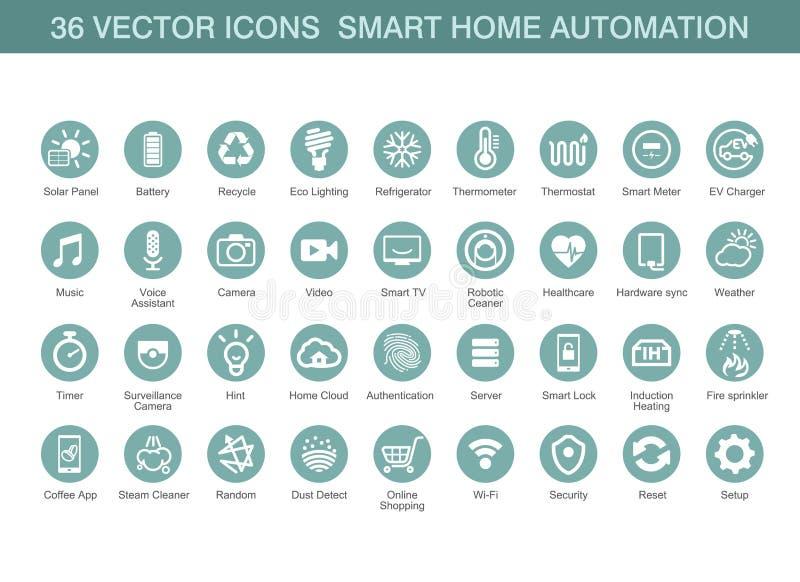 Icone di vettore per automazione della casa astuta fotografia stock