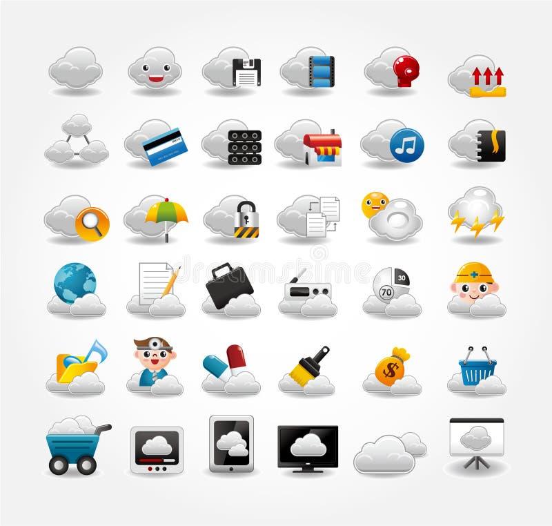 Icone di vettore per la rete della nube illustrazione di stock