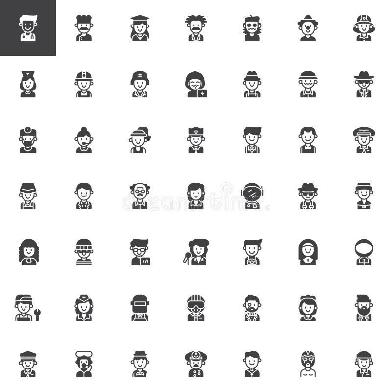 Icone di vettore di professioni messe illustrazione vettoriale