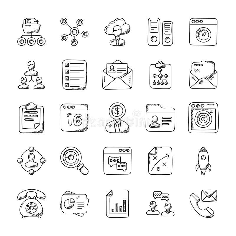 Icone di vettore di scarabocchio della gestione di progetti illustrazione vettoriale