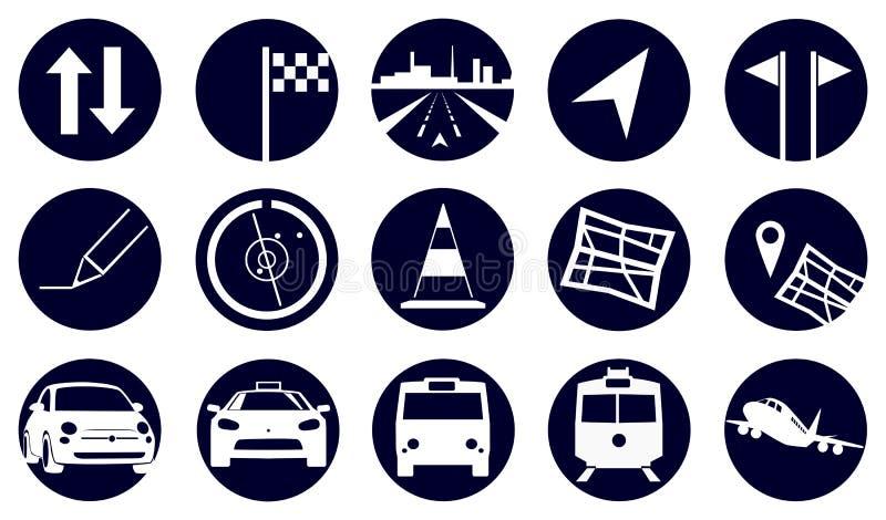 Icone di viaggio del cerchio illustrazione vettoriale