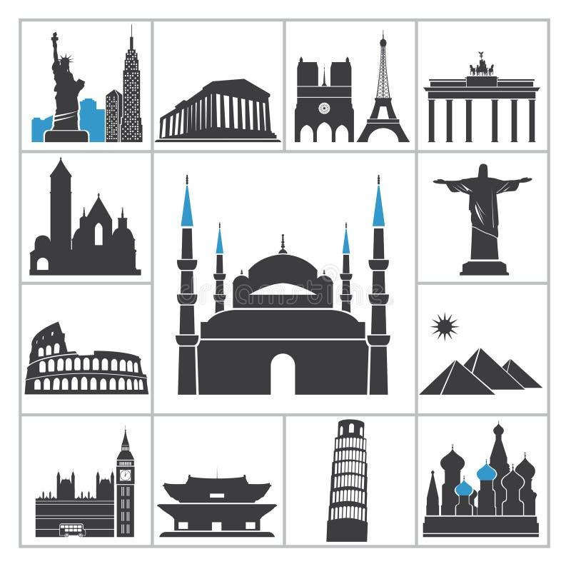 Icone di viaggio del punto di riferimento royalty illustrazione gratis