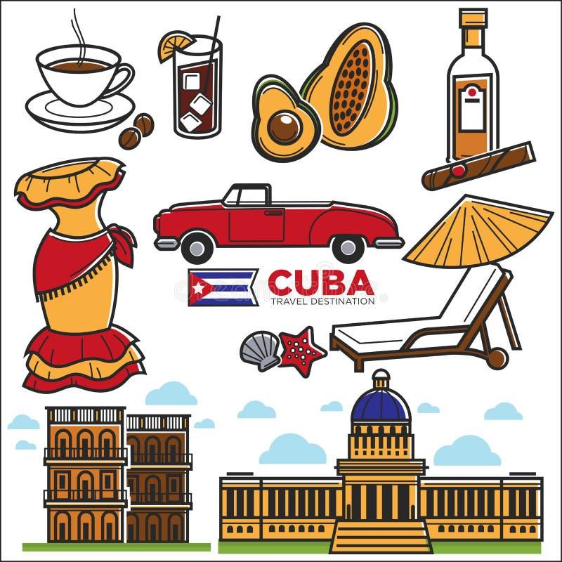 Icone di viaggio di Cuba e punti di riferimento facenti un giro turistico di Avana di vettore illustrazione di stock