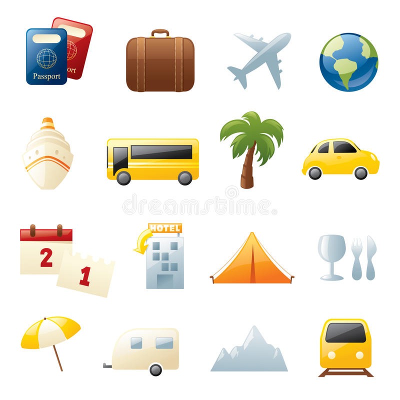 Icone di viaggio di festa illustrazione di stock