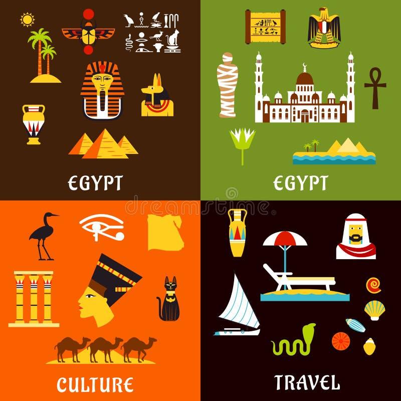 Icone di viaggio e della cultura dell'Egitto nello stile piano illustrazione di stock