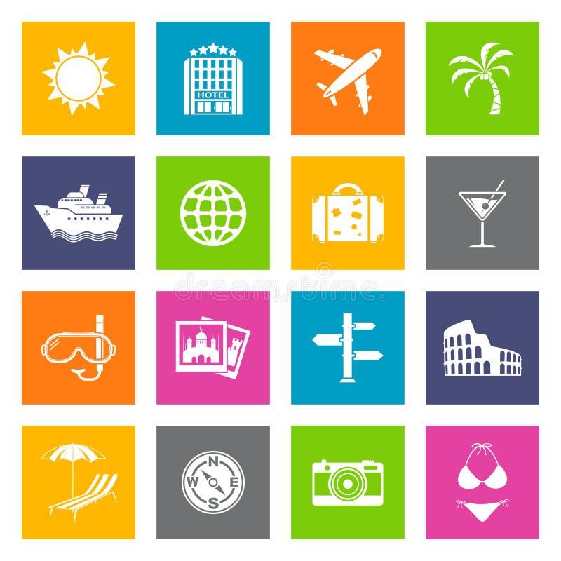 Icone di viaggio e di estate illustrazione di stock