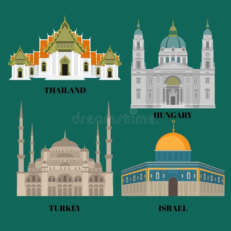 Icone di viaggio di Israele, dell'Ungheria, di Turchia e della Tailandia Punti di riferimento orientali ed europei facenti un gir illustrazione vettoriale