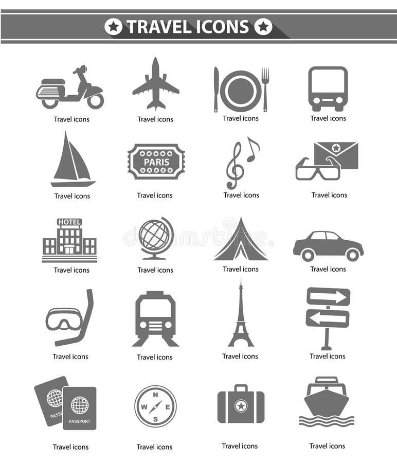 Icone di viaggio, versione grigia illustrazione vettoriale