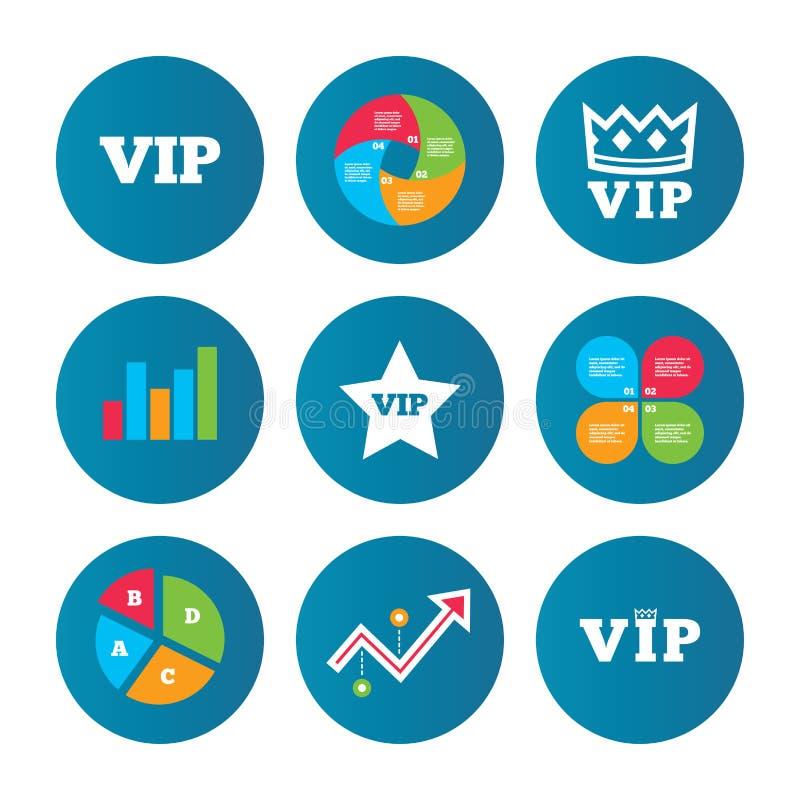 Icone di VIP Simboli della persona molto importante illustrazione vettoriale