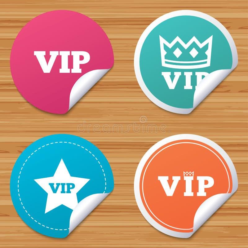 Icone di VIP Simboli della persona molto importante illustrazione di stock