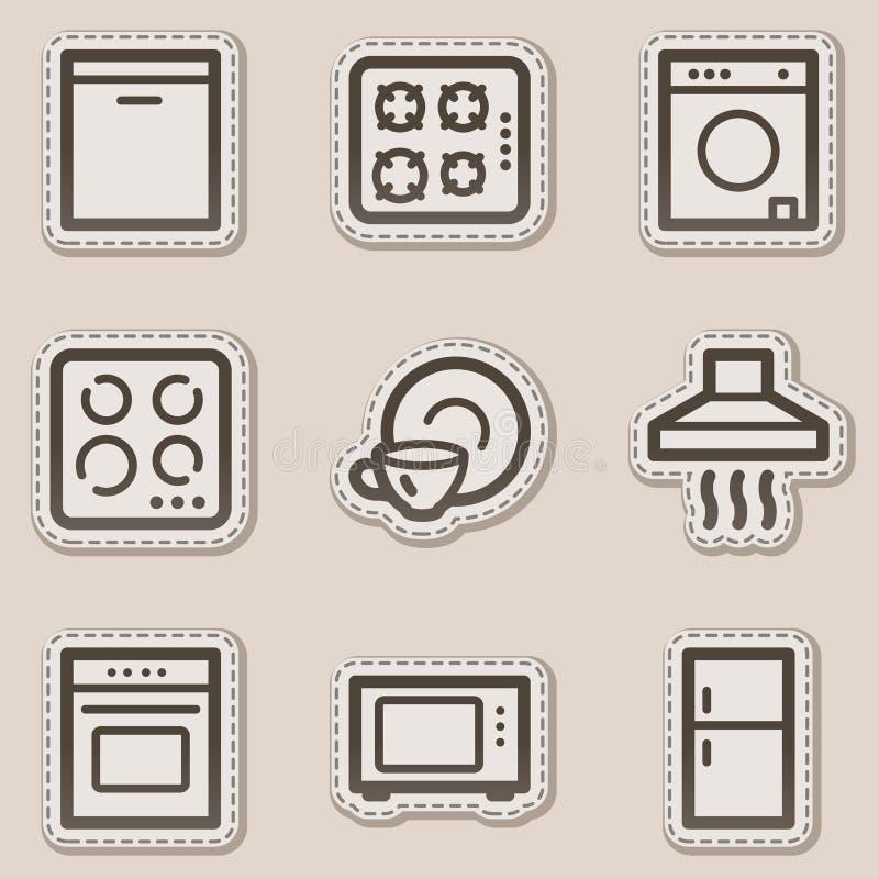 Icone di Web degli elettrodomestici, autoadesivo marrone di profilo illustrazione vettoriale
