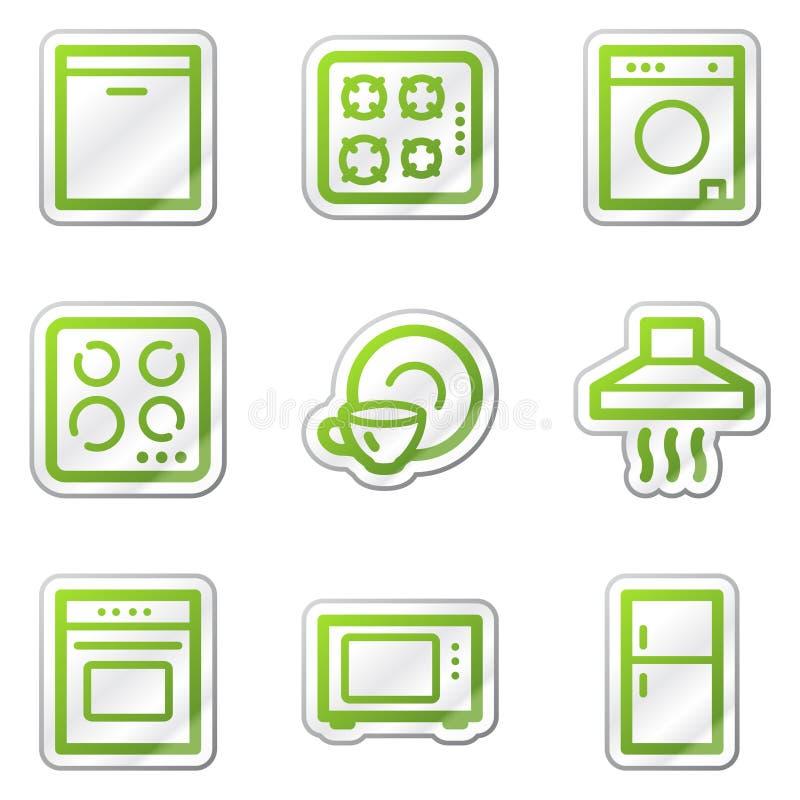Icone di Web degli elettrodomestici, autoadesivo verde di profilo royalty illustrazione gratis