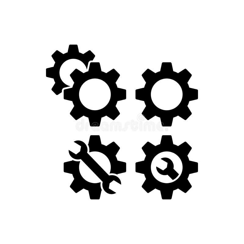Icone di web degli ingranaggi per le regolazioni ed il servizio Ruote del dente ed icone della chiave Ruota dentata e chiave illustrazione di stock