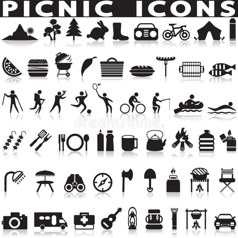Icone di web del barbecue e di picnic illustrazione vettoriale