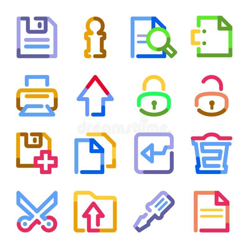Icone di Web del documento. Serie di profilo di colore. illustrazione di stock