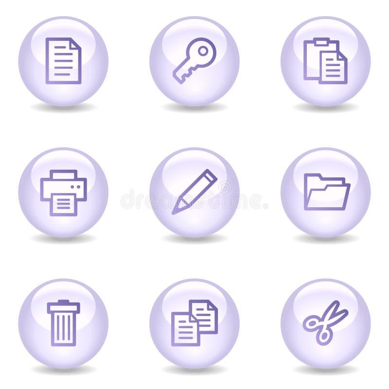 Icone di Web del documento, serie lucida della perla royalty illustrazione gratis