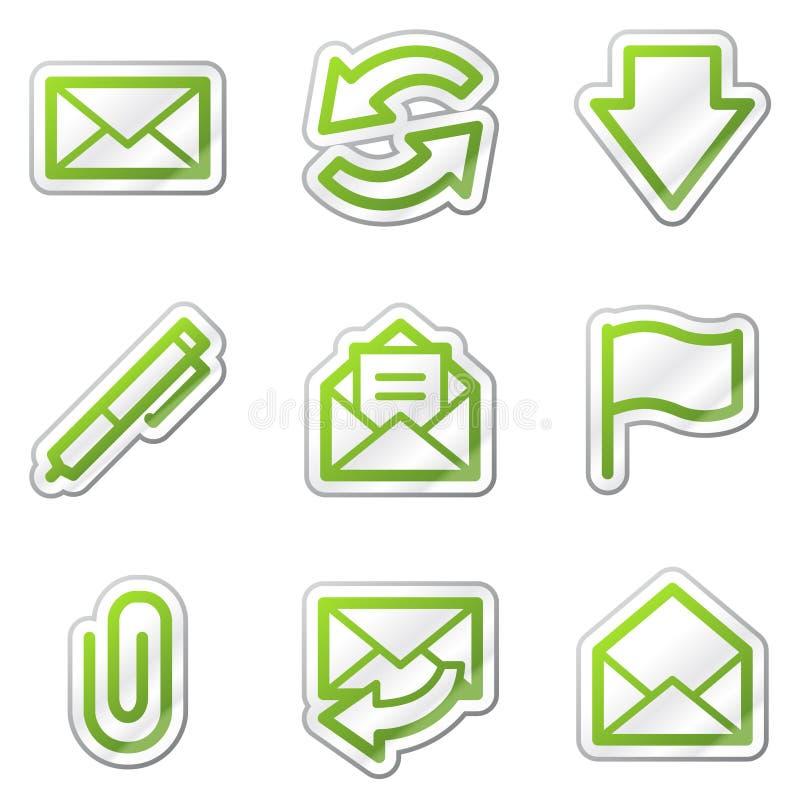 Icone di Web del email, serie verde dell'autoadesivo di profilo illustrazione vettoriale