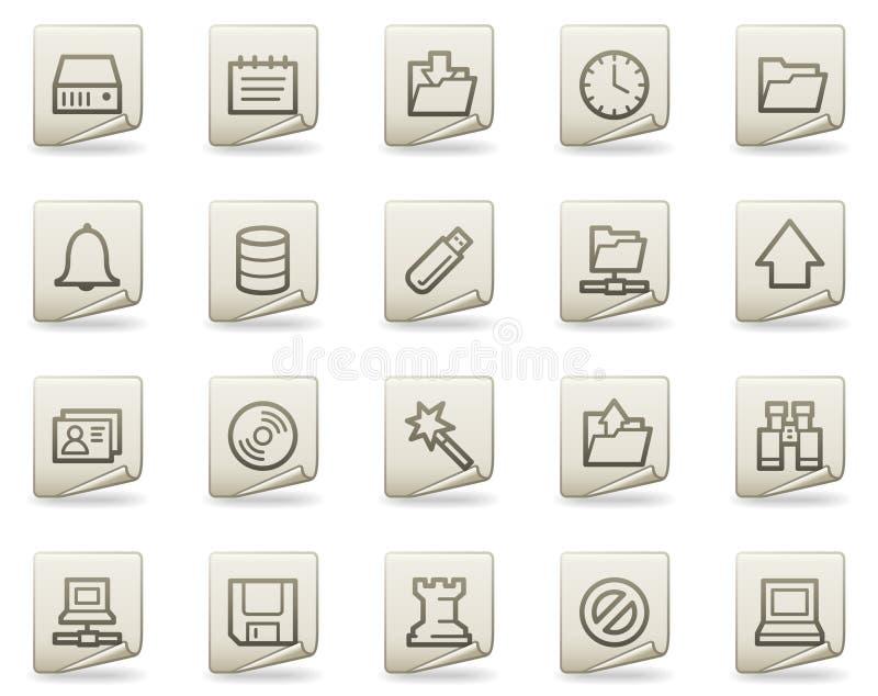 Icone di Web del server, serie del documento royalty illustrazione gratis