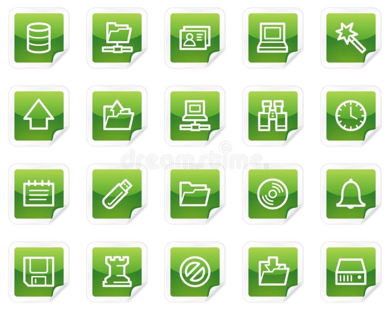Icone di Web del server, serie verde dell'autoadesivo illustrazione di stock