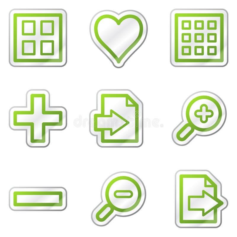 Icone di Web del visore di immagine, autoadesivo verde di profilo illustrazione vettoriale