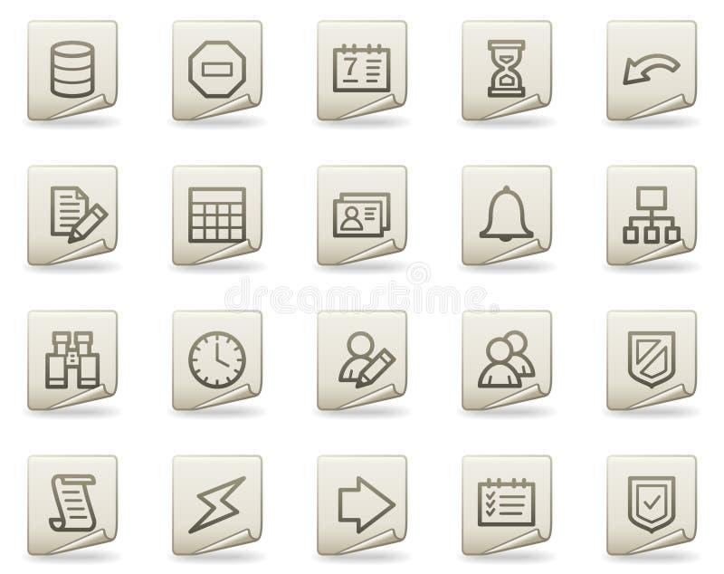 Icone di Web della base di dati, serie del documento illustrazione vettoriale