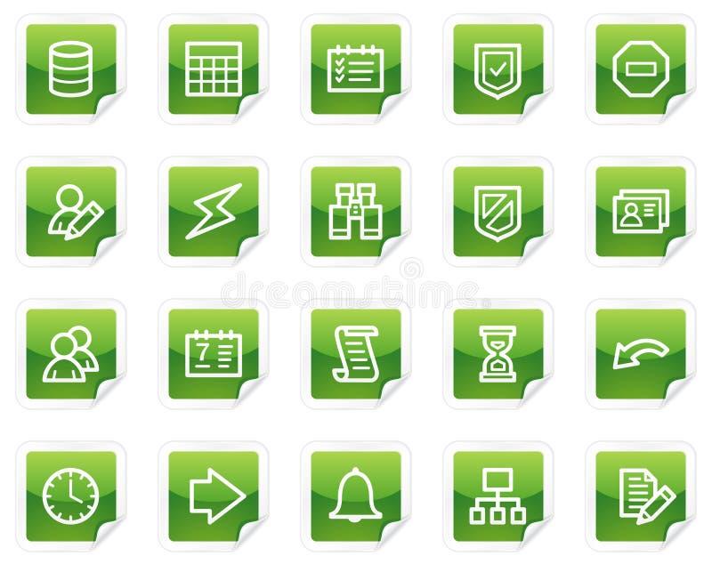 Icone di Web della base di dati, serie verde dell'autoadesivo royalty illustrazione gratis