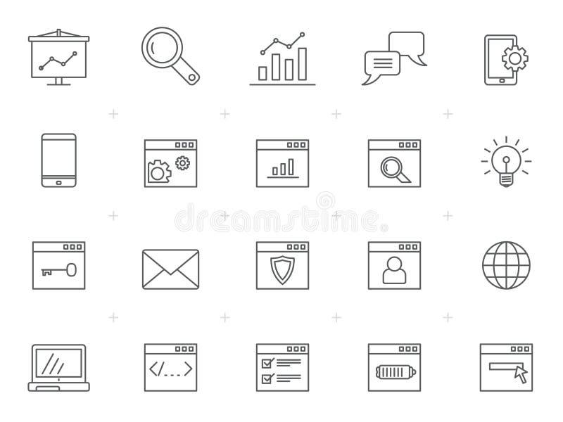 Icone di web della linea SEO e di sviluppo illustrazione vettoriale