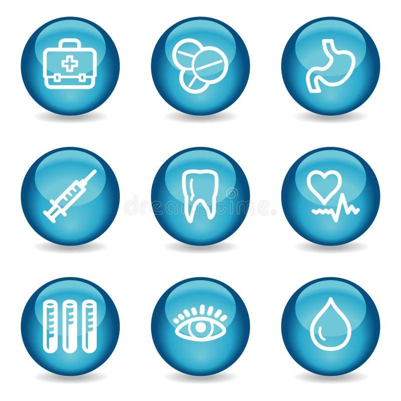 Icone di Web della medicina, serie lucida blu della sfera illustrazione di stock