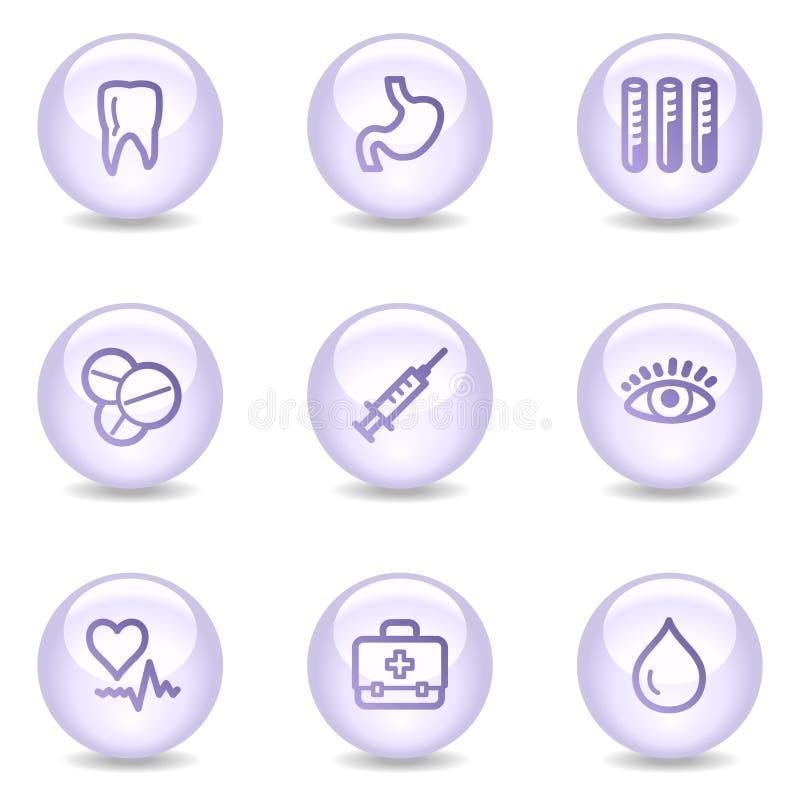 Icone di Web della medicina, serie lucida della perla royalty illustrazione gratis