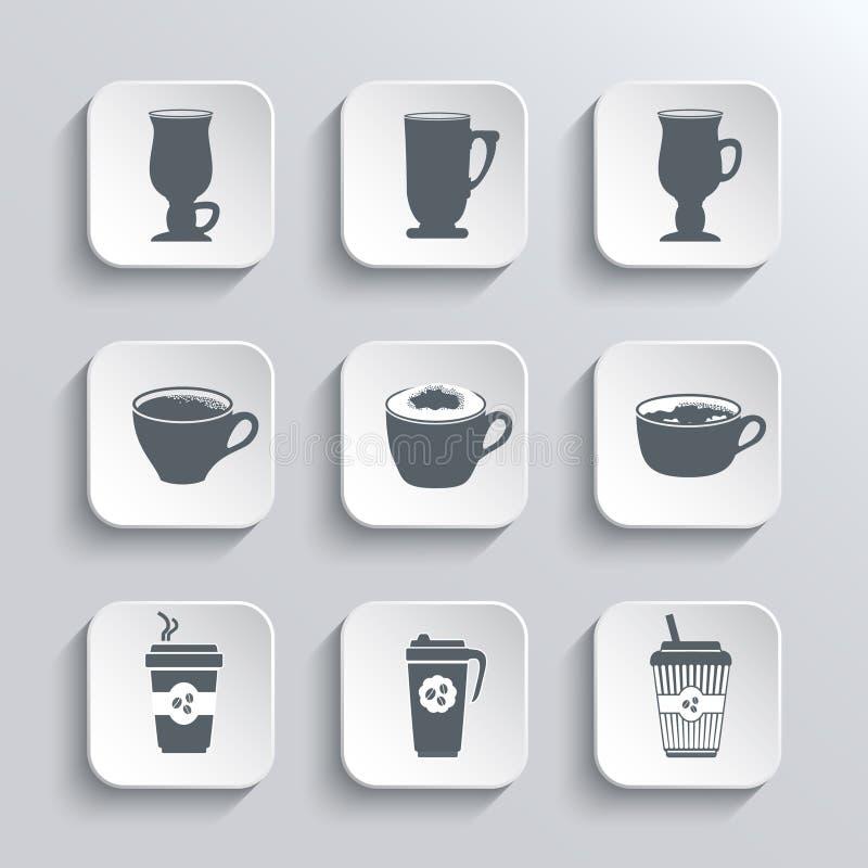 Icone di web della tazza di caffè messe in bianco e nero royalty illustrazione gratis