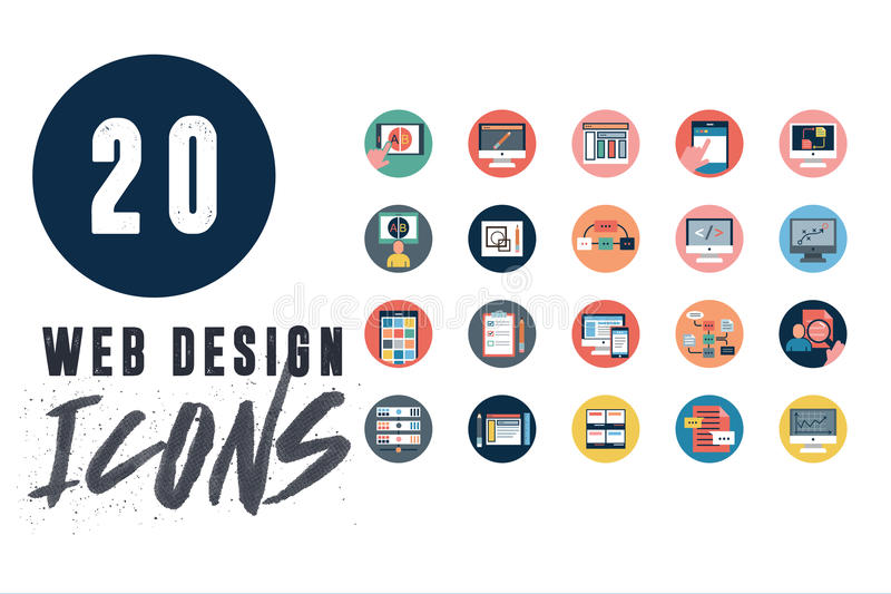 20 icone di web design messe illustrazione di stock